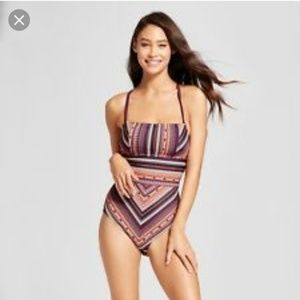 Tribal striped pattern burgundy lace up one piece